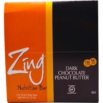 Zing Bars Nutrition Bar Dark Chocolate Peanut Butter -- 12 Bars pack of 3