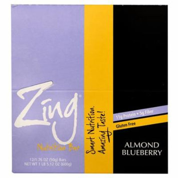 Zing Bars Gluten Free Nutrition Bar Almond Blueberry -- 12 Bars pack of 3
