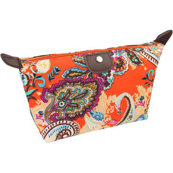 Riah Fashion Black Paisley Print Cosmetic Bag