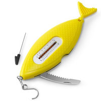 INNOKA 5-in-1 Portable Multi-Tool - Tape Measure/Bait Inserter/Weight Scale/Serrated Knife/Fish Scraper, Yellow Fish