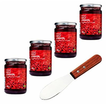 IKEA Organic Swedish Lingonberry Preserves , Jam - Bundle - With Signature Home Kitchen Spreader Knife - Pack of 4