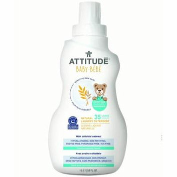 Attitude Baby Sensitive Skin Care Laundry Detergent, Fragrance Free, 35 Loads