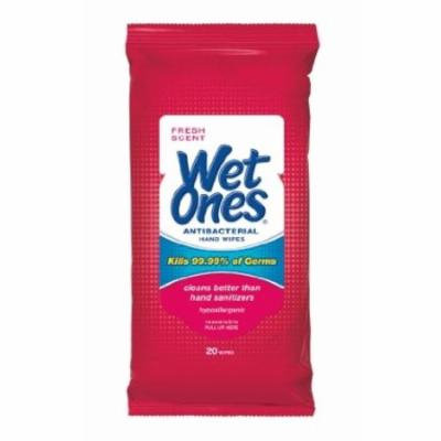 5 Pack WET ONES Antibacterial Hand Wipes Fresh Scent 20 Count Each