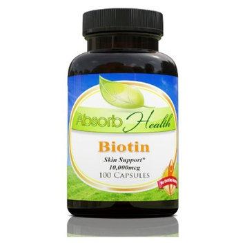 Biotin   Skin Support   Improve Hair, Skin and Nails   100 Capsules   10,000mcg per Capsule