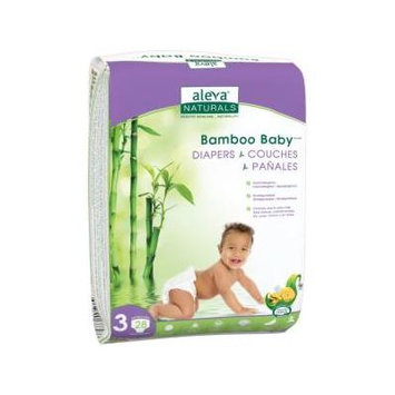 Aleva Naturals Bamboo Baby Diapers, Size 3, 28 Count - 28 Bamboo Baby Diapers - Has Wetness Indicator -Ultra Soft - Cloth Like Feel - Maximum Comfort for Baby - Extra Leak Protection - Made with