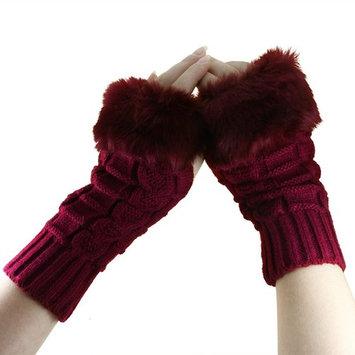 Starsource Women Winter Knitted Fingerless Faux Fur Arm Long/Medium/Short Wrist Gloves Mitten Hand Warmer