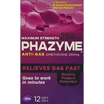 2 Pack - Phazyme Maximum Strength 250 mg Softgels, 12 Each