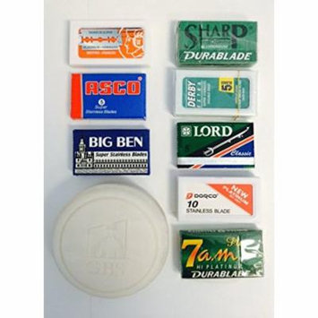60 Double Edge Safety Blade Variety Pack - Includes merkur 10 pack, lord, Sharp, Asco, Big Ben, Derby, 7 AM, + 3 Oz 97% Natural Gbs Shave Soap Driftwood -