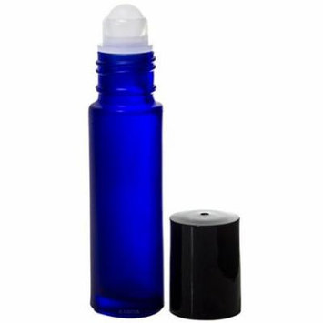 Frosted Cobalt Blue Glass Essential Oil Travel Roll-On - 0.33 oz