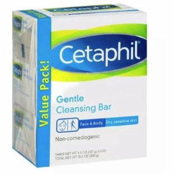 Cetaphil Gentle Cleansing Bar, 4.5 oz bars, 3 ea (Pack of 3)