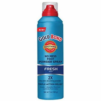 Gold Bond No Mess Foot Powder Spray, Fresh - 7 oz Each