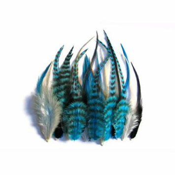 2 Dozen - Short Blue Mix Grizzly Rooster Hair Extension Feathers