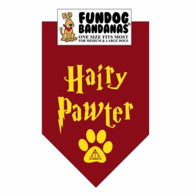 Fun Dog Bandana - Hairy Pawter - One Size Fits Most for Med to Lg Dogs, burgundy pet scarf