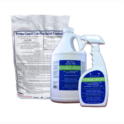 ERADICATOR for Bed Bugs and Dust Mites & Perma-Guard Diatomaceous Earth Crawling Insect Control Combo / Non-Toxic, Natural, Safe Bedbug Killer / 24 Oz Spray, 128 Oz Refill Bottle, and 2 lb DE Bag