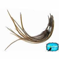 1 Dozen - Medium Golden Badger Rooster Hair Extension Feathers