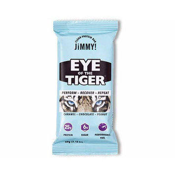 JiMMY! Clean Protein Bars (Eye of the Tiger, 12 pack), Gluten Free, High Protein, Low Sugar, Caramel Chocolate Peanut