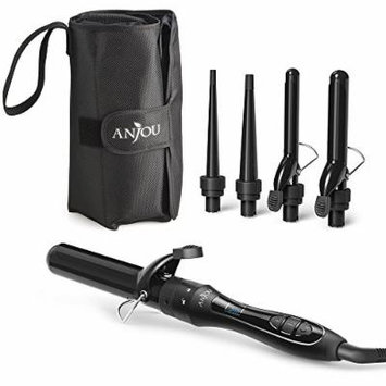 [5 in 1] Curling Iron and Wand Set with 5 Interchangeable Barrels, Anjou Hair Curling Wands with Tourmaline Ceramic Coating (Adjustable Temperature 250°F - 410°F, Heat Resistant Glove & Travel Bag)