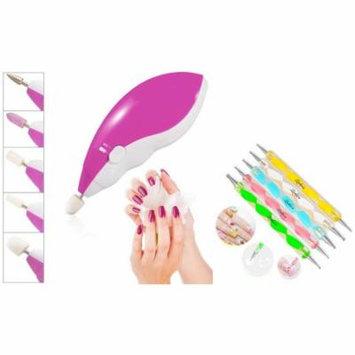 Zodaca 5pcs 2 Way Tools Painting Pen Nail Art Paint Tool+Electric Nail Art Salon Machine Pedicure Drill File Polish Kit (2-in-1 Accessory Bundle)
