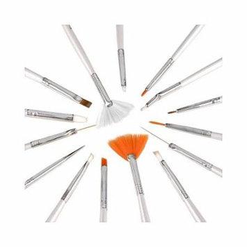Zodaca 15 pc Nail Art Design Brush Set Painting Detailing UV Gel Pen Tips Tool - White (15 Count)