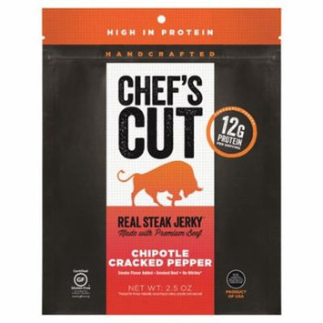 Chef's Cut Handcrafted Chipotle Cracked Pepper Real Steak Jerky 2.5 oz Bags - Pack of 8