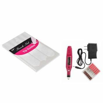 Zodaca Pen Shape Electric Nail Drill Art Salon File Pedicure Tool+French Nail Art Tips Tape Sticker Guide DIY Stencil (2-in-1 Accessory Bundle)