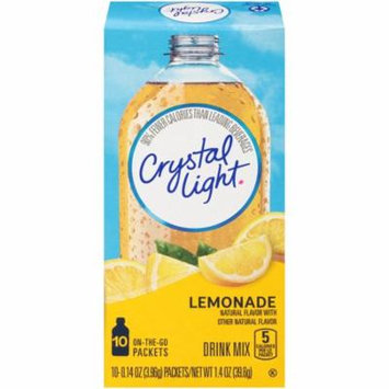 Crystal Light On-The-Go Drink Mix, Natural Lemonade 10 Count Box (Pack of 12)