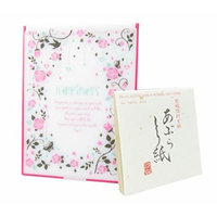 Happiness Folding Portable Travel Mirror Pink 6 x 4.5 with Blotting Absorbing Oil Paper 100 Sheets (Bundle of 2)