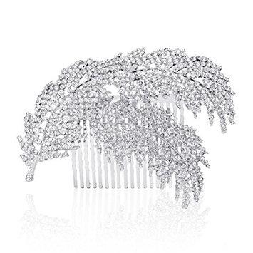 WINOMO Bridal Bridesmaid Flower Rhinestone Hair Comb Slide Clip Hairpiece