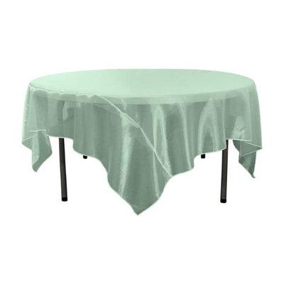 LA Linen TCOrgz90X90-Mint267 Sheer Mirror Organza Square Tablecloth Mint - 90 x 90 in.