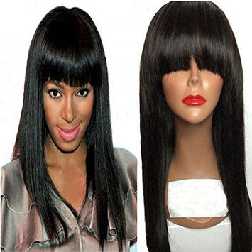 NiceToBuy Glueless Silky Straight Lace Front Wig with Bangs Brazilian Virgin Human Hair Wigs for Women #1 Jet Black 14inch