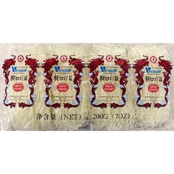 (龙口粉丝) Lungkow Pagoda Green Been Threads Crystal Noodle - Vermicelli 7oz (pack of 3)