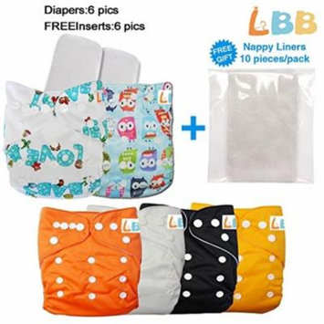 LBB Baby Cloth Diapers Reusable Girls/Boys Pocket, 6 pcs + 6 Inserts