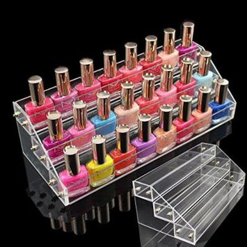 Yosoo 3 Tier Clear Nail Polish Varnish Acrylic Perspex Retail Display Stand Perfect Gift for Valentine's Day / Mother's Day / Wedding Anniversary / Birthday (Fits 30 Bottles)
