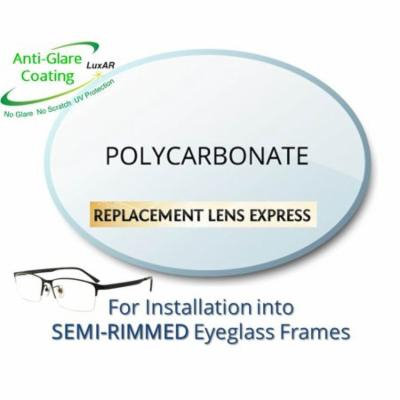 Single Vision Polycarbonate Prescription Eyeglass Lenses, Left and Right (One Pair), for installation into your own Semi-Rimless (grooved) Frames, Anti-Scratch Coating and Anti-Glare Coating Included