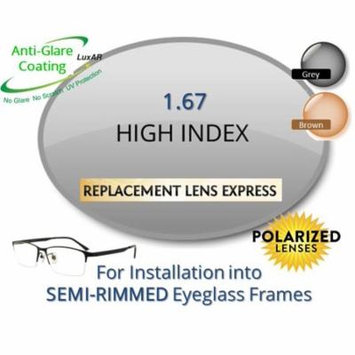 Single Vision Polarized High Index 1.67 Prescription Eyeglass Lenses, Left & Right (a Pair), for installation into your own Semi-Rimless (grooved) Frames (Anti-Scratch & Anti-Glare Coating Included)