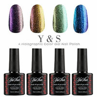 Y&S 4pcs Gel Nails Polish,Holographic Glitter Starry Galaxy Chameleon Colors Changes UV LED Nail Polish 10ml-003