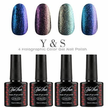 Y&S Holographic Glitter Gel Nails Polish UV LED Chameleon Colors Changes Nail Polish 4pcs 10ml-001