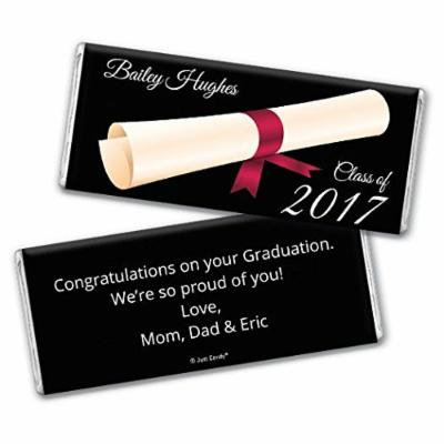 Graduation Personalized Chocolate Bar Wrappers - Diploma (25 Wrappers) - Red