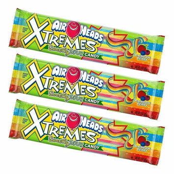 Set of 3 Deliciously Fruity EXTREME Airheads Belts 3oz Bags! All the Chewy Deliciousness of Airheads in Strips! [Airheads Extreme]