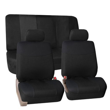 Fh Group FH-FB056112 Modern Flat Cloth Car Seat Covers, Full Set with Solid Bench, Black