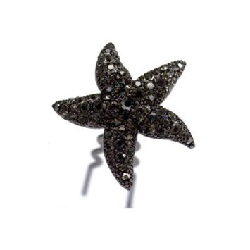 DoubleAccent Hair Jewelry Simulated Crystal Starfish Bun Stick, Black