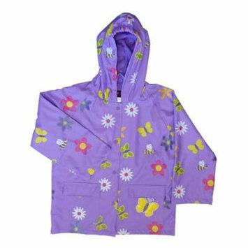 Foxfire FOX-601-70-4T Childrens Lavender Flower Rain Coat - Size 4T