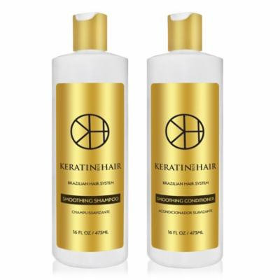 Keratin for Hair Smoothing Sulfate Free Shampoo & Conditioner Set with Complex Vitamins Argan Oil Sulfate Free Hair Regrowth Treatment for Hair Loss Frizzy Curly Thinning Hair, Unisex 16 fl oz