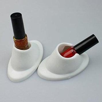 Beauticom 2 Piece Oval Style White Nail Polish Holders