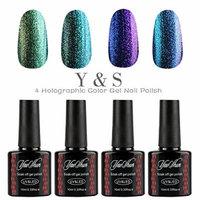 Y&S 4pcs Gel Nails Polish,Holographic Glitter Starry Galaxy Chameleon Colors Changes UV LED Nail Polish 10ml-002