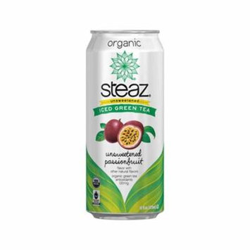 Steaz Organic Unsweetened Passionfruit Iced Green Tea 16 oz Cans - Pack of 12