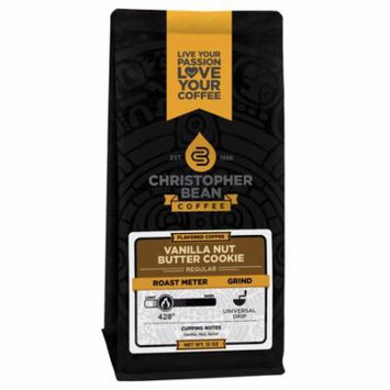 Christopher Bean Vanilla Nut Butter Cookie Coffee, 12 Ounce Bag Ground