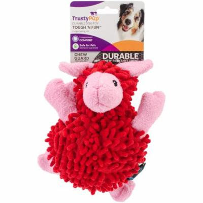 TrustyPup® Fuzzy Wuzzy Sheep Plush Squeaker Dog Toy, Small, Red