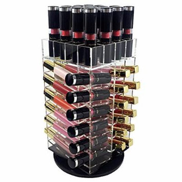 Ikee Design Acrylic Rotating Makeup Cosmetic 52 Lipstick Lip Gloss Rack Holder Organizer Storage Tower Spinning Clear Acrylic Makeup Holder Lipstick Tower Cosmetic Storage Rotating Organizer