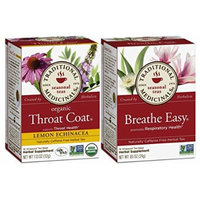 Traditional Medicinals Non-GMO Herbal Tea 2 Flavor Variety Bundle: (1) Throat Coat Lemon Echinacea, and (1) Breathe Easy, 16 Bags Each